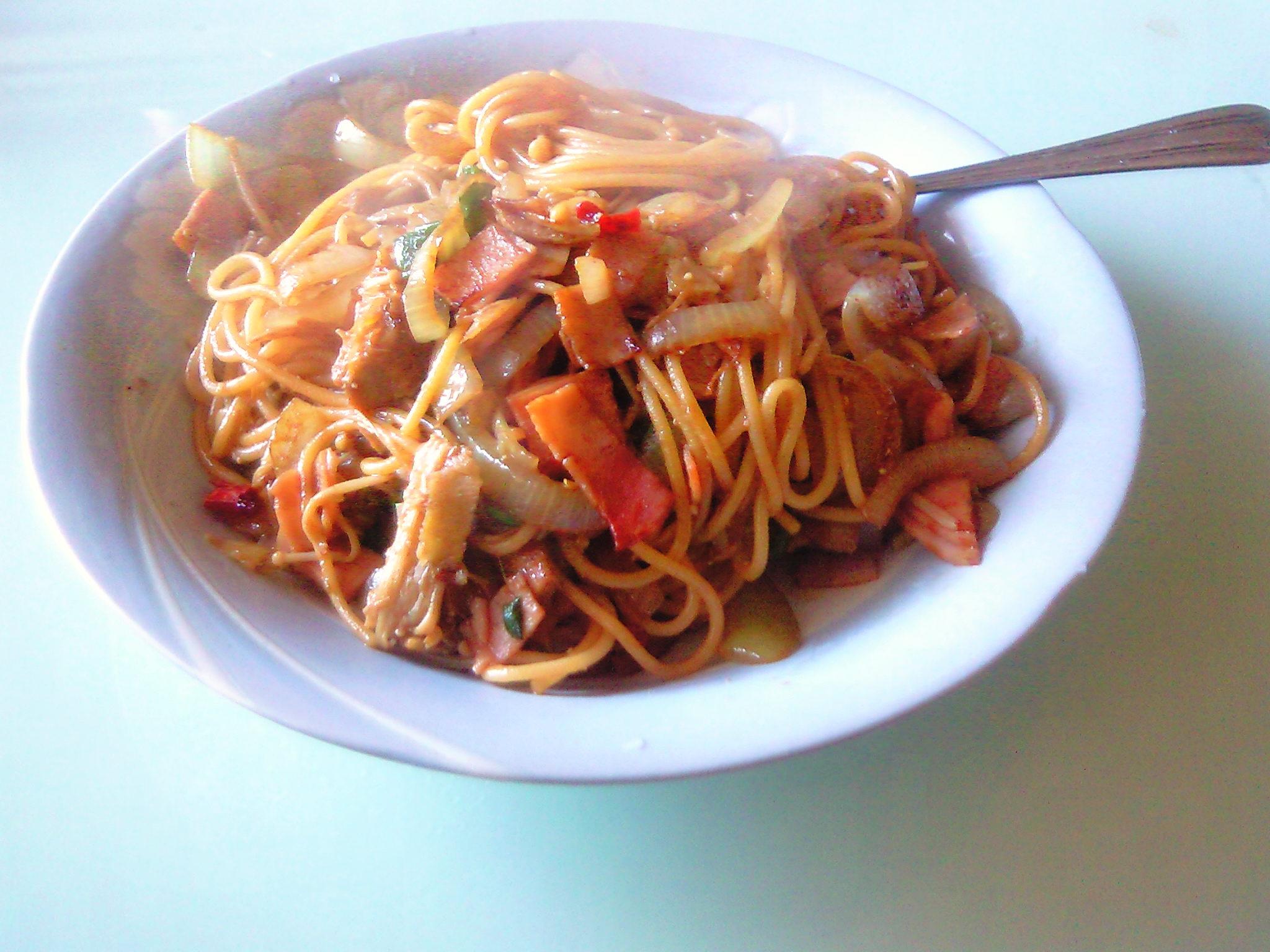 スパゲッティ バルサ醤油炒め 【コッヘルクッキング】